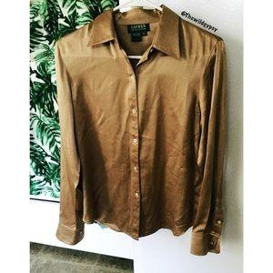Vintage 100% silk button down ☕️